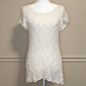 Anthro Knotted & Knitted Crochet Sweater